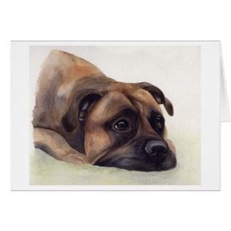 Chien de Bullmastiff peint dans la couleur pour Carte De Vœux