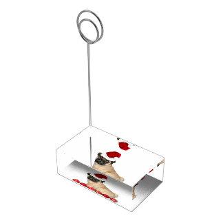 Chien de carlin de Noël Porte-carte De Table