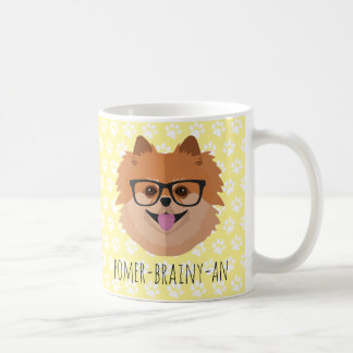 Chien de Pomeranian en verres nerd | Mug Blanc