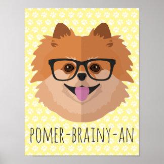 Chien de Pomeranian en verres nerd | Poster
