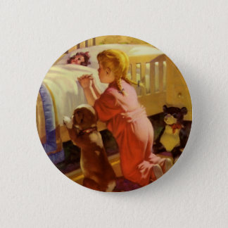 Chien de prière de fille religieuse vintage à badge rond 5 cm