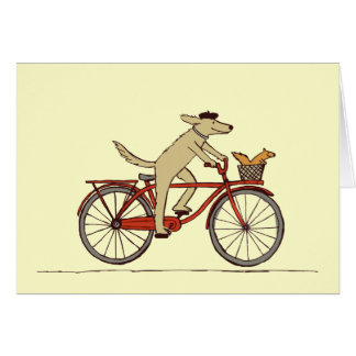 Chien de recyclage avec l'ami d'écureuil - art carte de correspondance