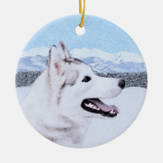 Chien de traîneau sibérien (argent et blanc) ornement rond en céramique