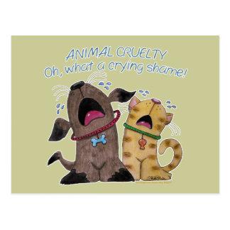 Chien et chat pleurants - quelle honte pleurante carte postale