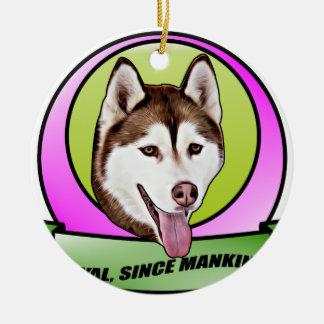Chien mignon de chien de traîneau sibérien ornement rond en céramique