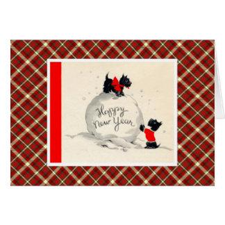 Chien vintage de Terrier de Noël Carte De Vœux