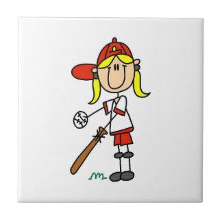 Chiffre base-ball de bâton de fille à la batte petit carreau carré