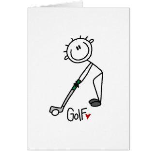 Chiffre simple golfeur de bâton carte de correspondance