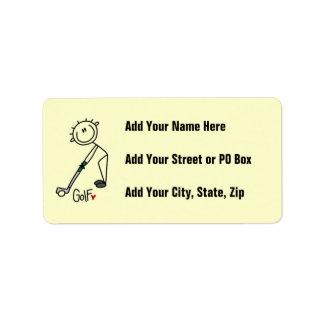 Chiffre simple golfeur de bâton étiquette d'adresse