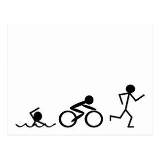 Chiffres de bâton de triathlon carte postale