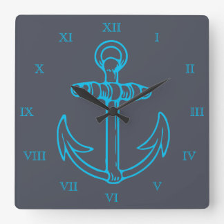 Chiffres romains bateau ou bateau d'ancre bleue horloge carrée