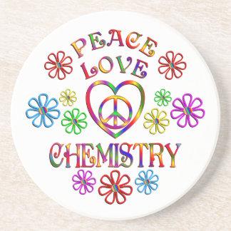 Chimie d'amour de paix dessous de verre en grès