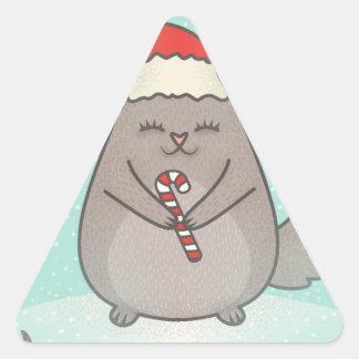 chinchillas de Noël Sticker Triangulaire
