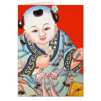 Chinois mignon riant la bonne chance Bouddha sur Carte De Vœux