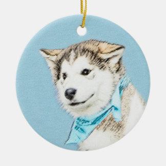 Chiot de chien de traîneau sibérien ornement rond en céramique