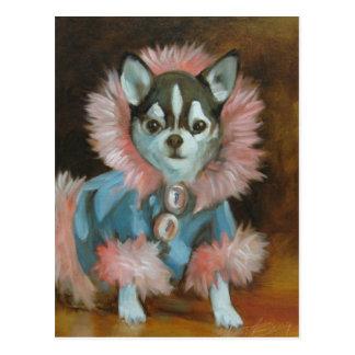 Chiot de chiwawa avec la veste rose et bleue carte postale