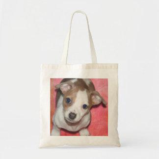 Chiot de Jack Russel Terrier sur le rose Tote Bag