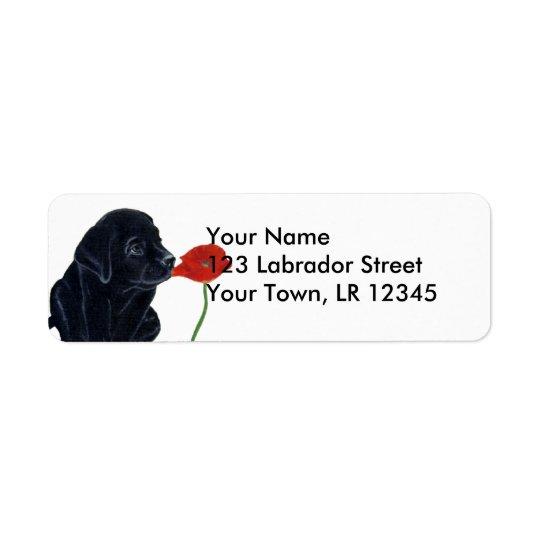Chiot et pavot noirs de Labrador Étiquette D'adresse Retour