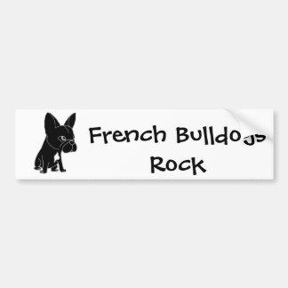 Chiot noir drôle de bouledogue français autocollant de voiture