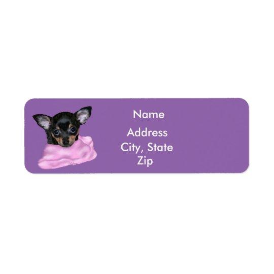 Chiot noir et bronzage de chiwawa étiquettes d'adresse retour