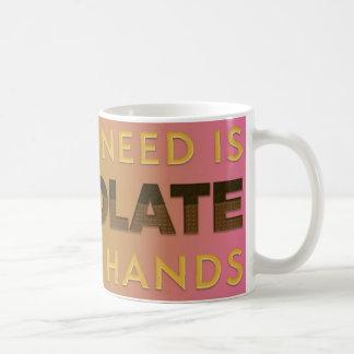 Chocolat des deux mains tasse blanche classique de