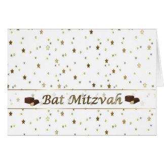 Chocolat d'or d'étoiles de bat mitzvah sur la carte de vœux