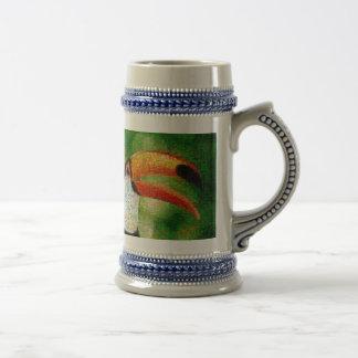 Chope À Bière Art de collage-toucan de toucan - art de collage