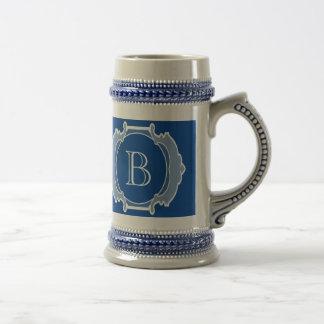 Chope À Bière Cadre de blanc de monogramme