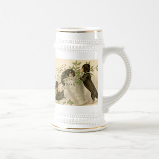 Chope À Bière Daschunds espiègles avec la baie et le vase de