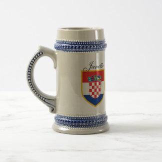 Chope À Bière Drapeau de la Croatie personnalisé