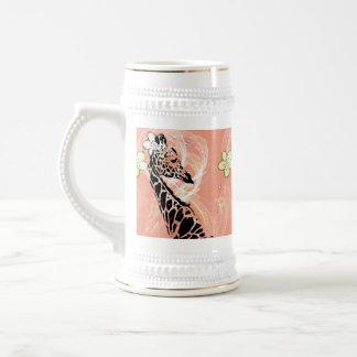 Chope À Bière ~ fleuri orange Stein de la girafe II