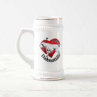 Chope À Bière J'aime mon Dalmate drôle et mignon adorable