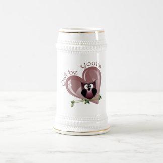 Chope À Bière Le hibou soit vôtre, rouge de Valentine aïe et
