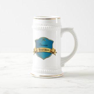 Chope À Bière Le meilleur homme de plaque bleue et goldtone