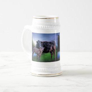 Chope À Bière Vache et veau noirs à Angus