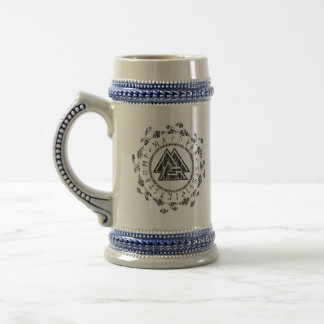 Chope À Bière Valknut - runes - 9 vertus nobles Stein