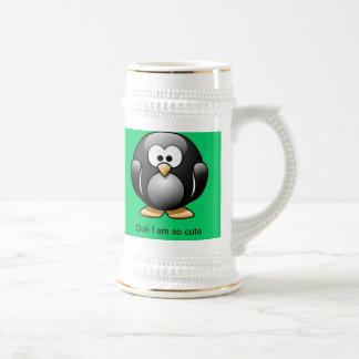 Chope À Bière Vert mignon de Stein de pingouin
