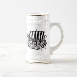 Chope À Bière Vikings dans le dessin noir et blanc d'encre de