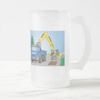 Chope Givrée Straßenbaustelle avec le camion bleu et