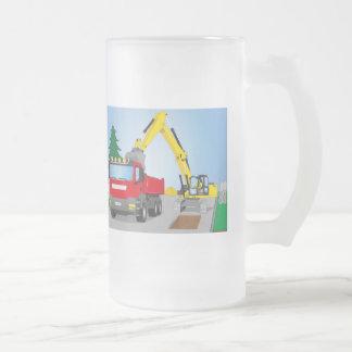 Chope Givrée Straßenbaustelle avec le camion rouge et