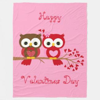 Chouettes épervières heureuses de Valentines Couverture Polaire
