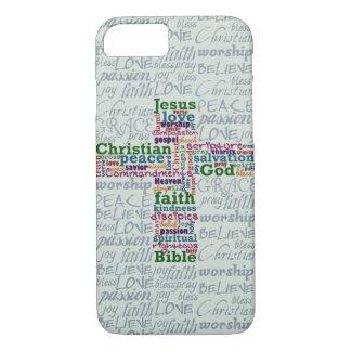 Christelijk Godsdienstig Word Art Cross iPhone 7 Hoesje