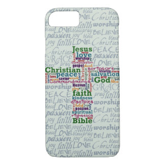 Christelijk Godsdienstig Word Art Cross iPhone 8/7 Hoesje