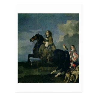 Christina de la Suède (1626-89) à cheval, 1653 ( Carte Postale