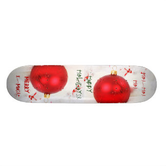 Christmas Red And White Happy Holidays IV Skateboard Decks
