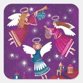 Chritmas religieux moderne, trois anges sticker carré