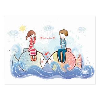 Chute dans l'art d'amour cartes postales