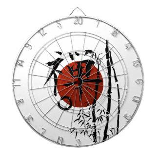 Cible De Fléchettes Zen de kanji avec Enso et bambou
