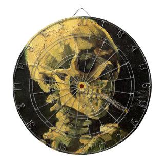 Cibles De Fléchettes Crâne de Van Gogh avec la cigarette brûlante, art