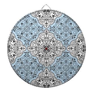 Cibles De Fléchettes Flourish bleu de motif de rococos